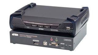 The ATEN KE9950/KE9952 4K DisplayPort/HDMI KVM over IP Extenders route KVM, audio, USB, and serial signals at unlimited distances via Cat -5e/6 over a LAN or via an SFP fiber optic transceiver module over an optical Ethernet network.