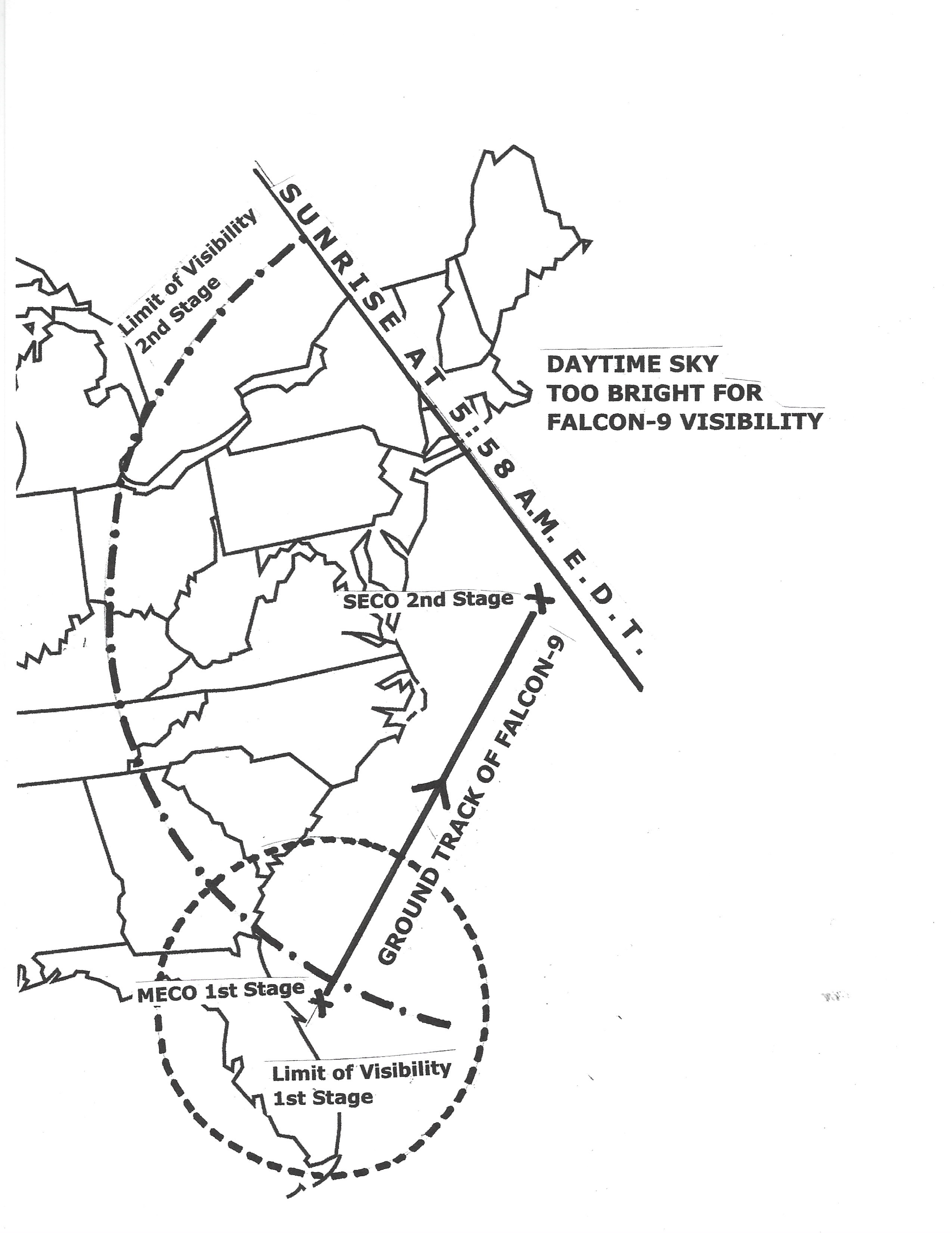This sky map shows the U.S. East Coast visibility area for SpaceX's Falcon 9 rocket and Crew-2 astronaut launch on April 23, 2021.