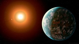 An illustration of the planet GJ357 revolving around its dwarf sun.