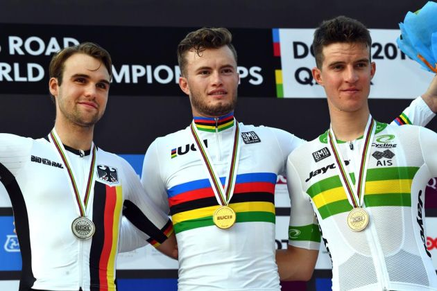 Marco Mathis wins the men's U-23 TT at the 2016 World Road Championships