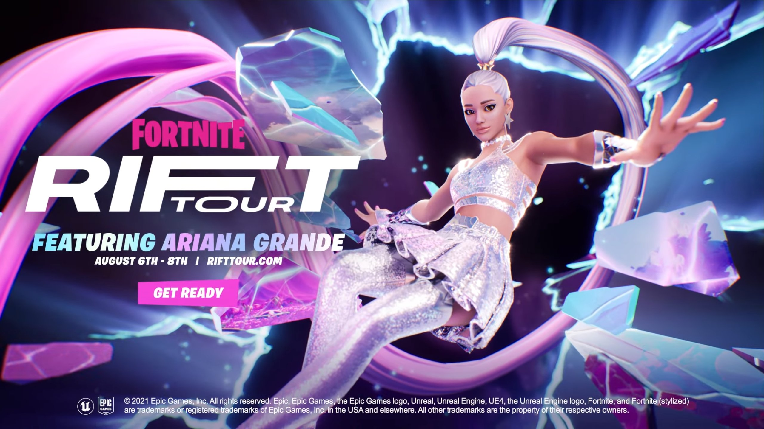 Ariana Grande blasting through a rift in space next to the words' Rift Tour'