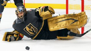 Marc-Andre Fleury #29 of the Vegas Golden Knights makes a save against the Montreal Canadiens in the first period in Game Two of the Stanley Cup Semifinals during the 2021 Stanley Cup Playoffs at T-Mobile Arena on June 16, 2021 in Las Vegas, Nevada.