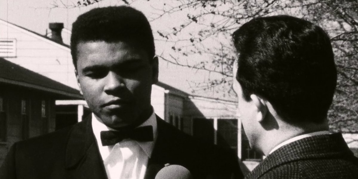 Archival footage of Muhammad Ali giving an interview in Blood Brothers: Malcolm X and Muhammad Ali