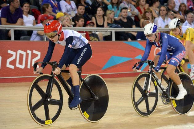 Laura Trott and Sarah Hammer in women's omnium, London 2012 Olympic Games, track day 5