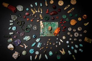 The stash of ancient amulets found in Pompeii.