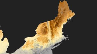 This image shows the total snow melt in New England from March 1-21, 2012.