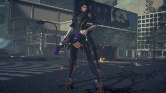 Bayonetta 3 standing in a ruined city