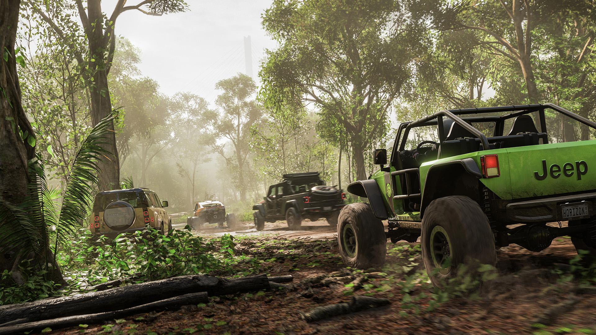 Forza Horizon 5 cars in a jungle environment