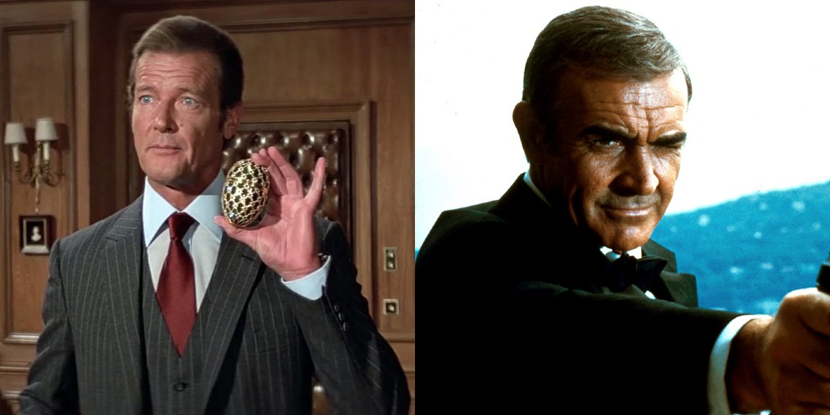 Roger Moore holds a Faberge egg in Octopussy, while Sean Connery aims a gun in Never Say Never Again.
