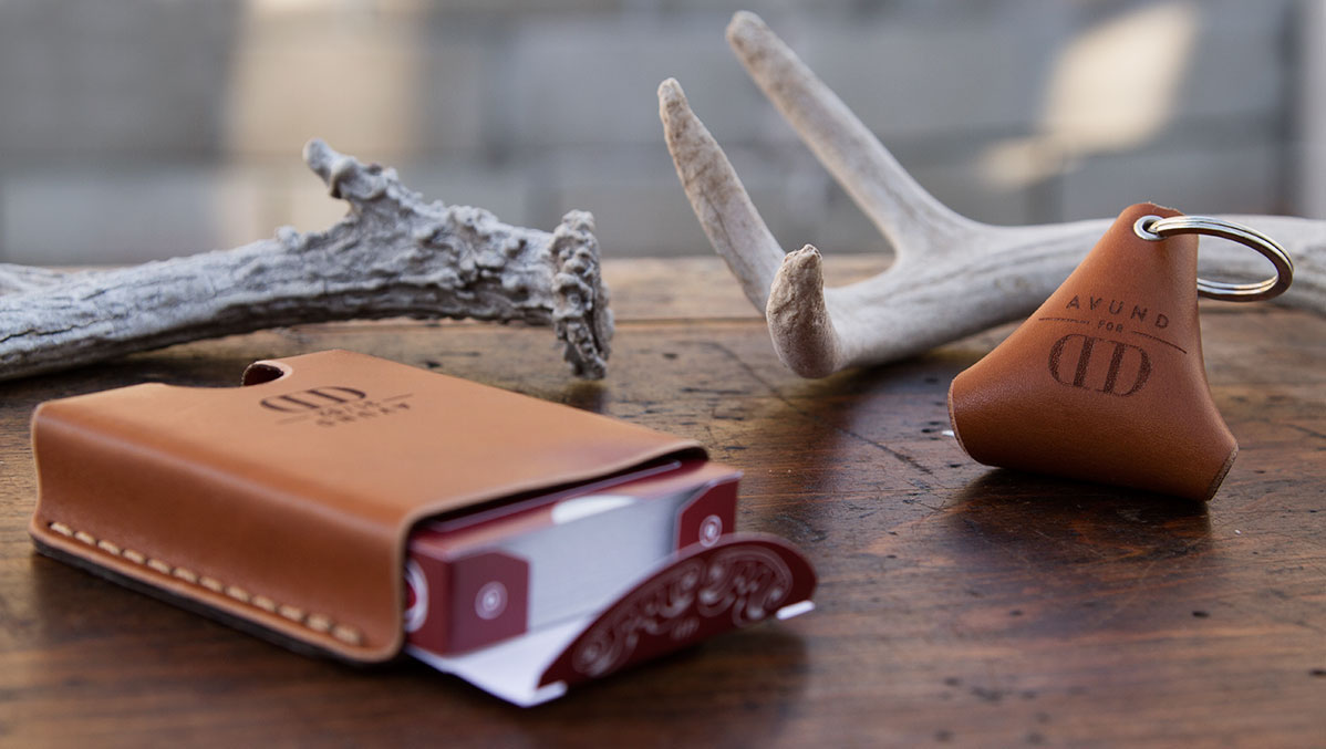 Avund Goods leather playing card pouch and keychain