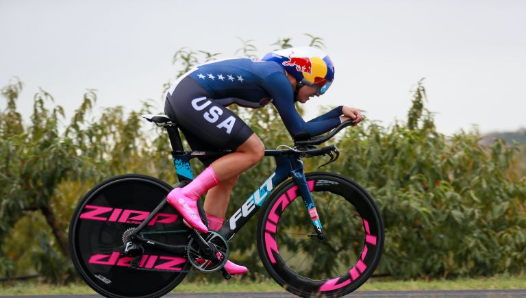 Chloe Dygert during the 2020 World Championship time trial