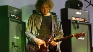 Kevin Shields of My Bloody Valentine performs as part of the Coachella Valley Music and Arts Festival at the Empire Polo Fields on April 19, 2009 in Indio, California.