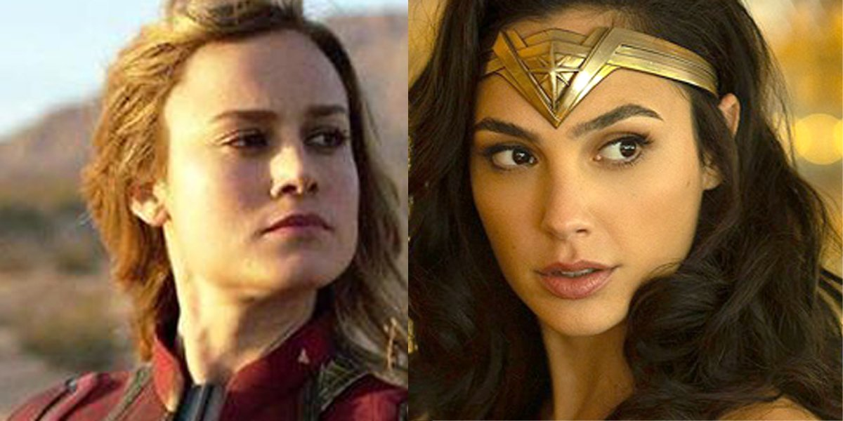 Brie Larson as Captain Marvel Gal Gadot as Wonder Woman