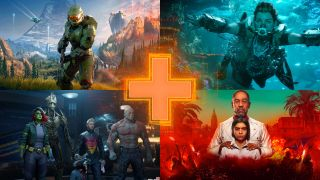 Images from new games: clockwise from top left - Halo Infinite, Horizon Forbidden West, Marvel's Guardians of the Galaxy, Far Cry 6