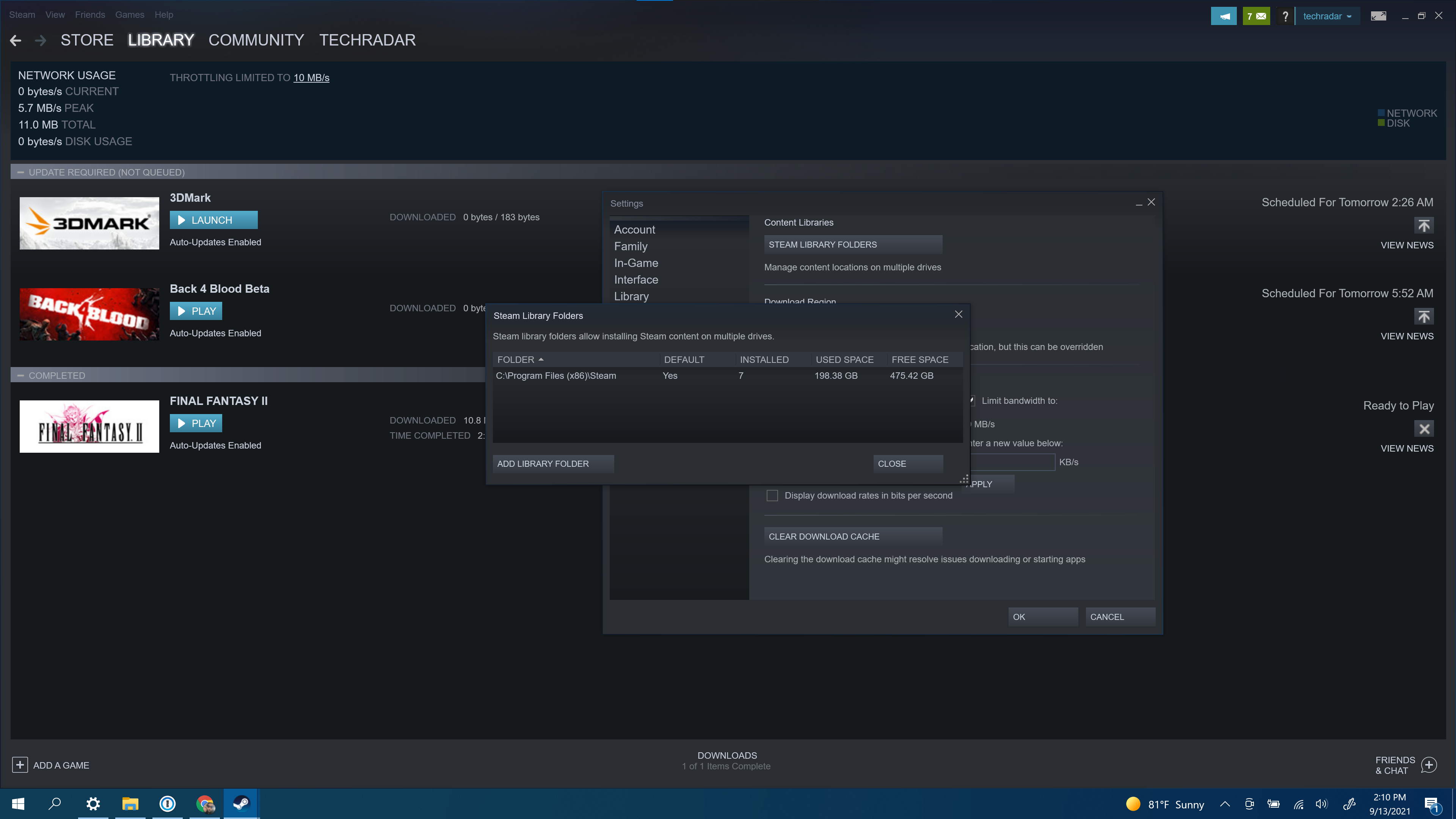 The old Steam storage manager view, showing how useless it really was