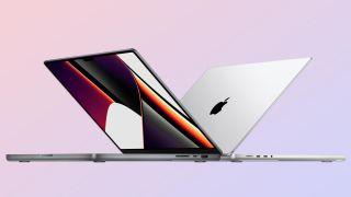 MacBook Pro 2021 on pastel background