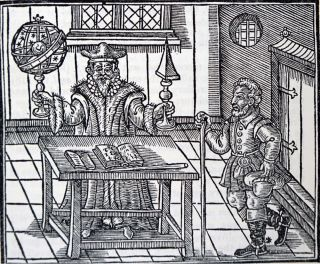 A woodcut showing the astrologer and his client, by John Melton, 1620.