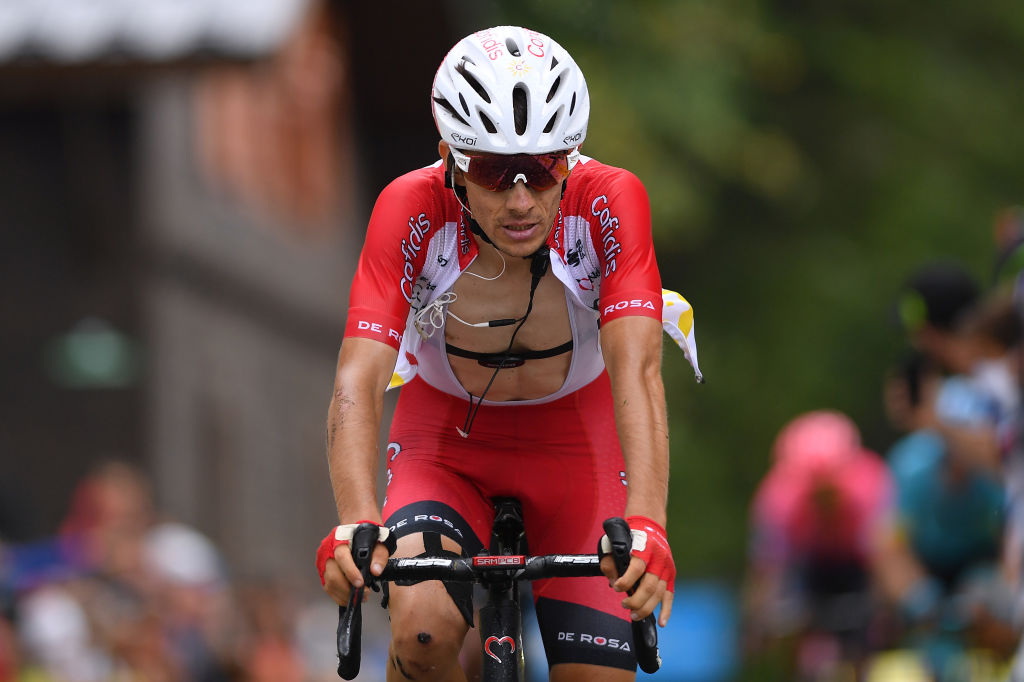 Guillaume Martin (Cofidis) crosses the line in fourth place on stage 2 of the 2020 Critérium du Dauphiné on the Col de Porte