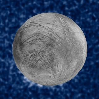 Composite Image of Europa water plume as seen by Hubble Space Telescope.