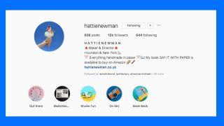 Instagram bio: Hattie Newman's profile