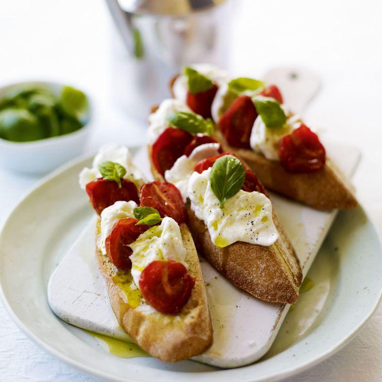 Oven Dried Cherry Tomato and Mozzarella Bruschetta recipe-recipe ideas-new recipes-woman and home