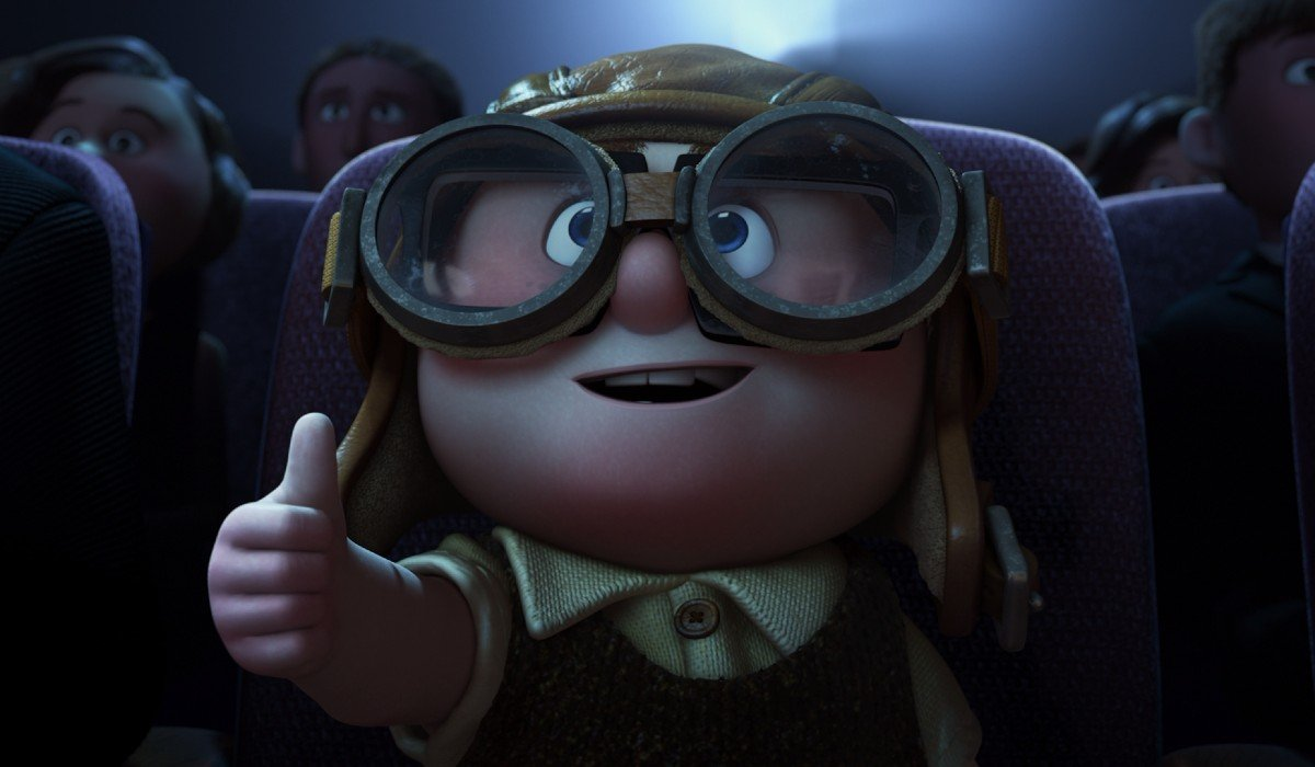 Up Young Carl gives a thumbs up at the movies