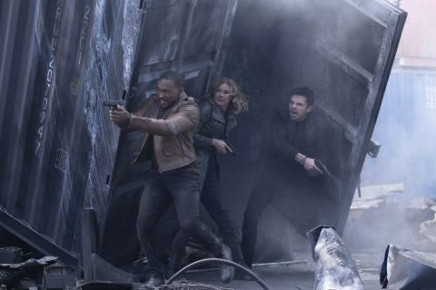 Anthony Mackie, Emily VanCamp and Sebastian Stan in The Falcon and the Winter Soldier.