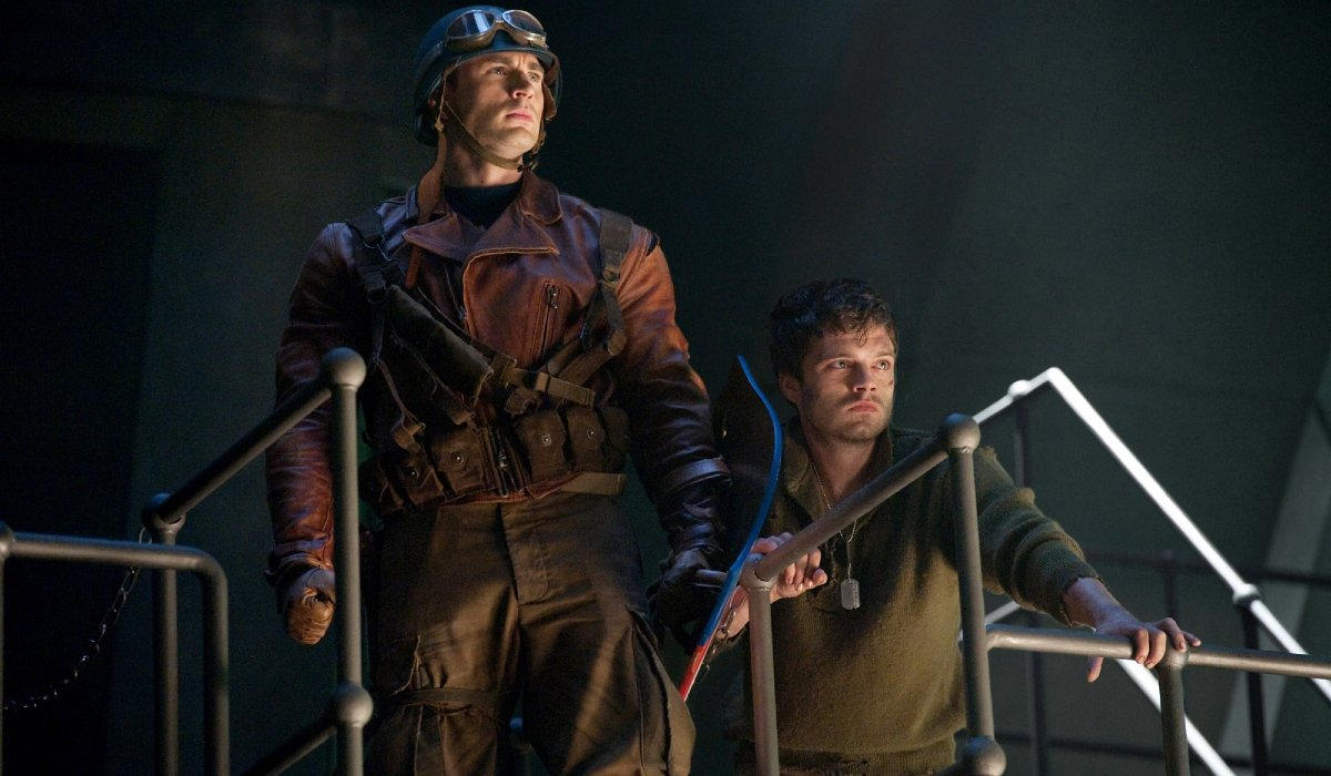 Captain America: The First Avenger Chris Evans and Sebastian Stan on a metal catwalk