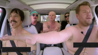 Red Hot Chili Peppers with James Corden off of the telly