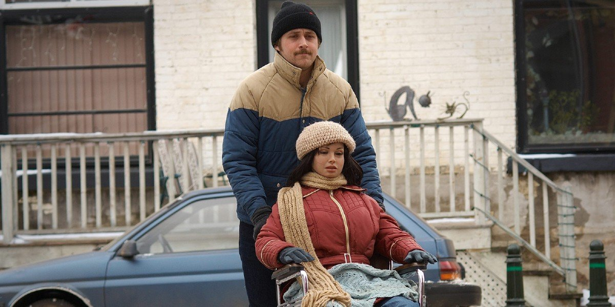 Lars and the Real Girl Ryan Gosling pushes his doll in a wheelchair