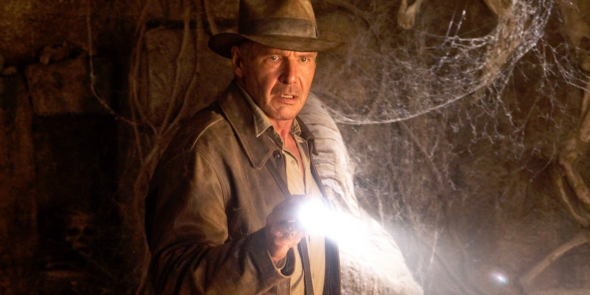 Indiana Jones (Harrison Ford) explores a cave in Indiana Jones and the Kingdom of the Crystal Skull (2008)
