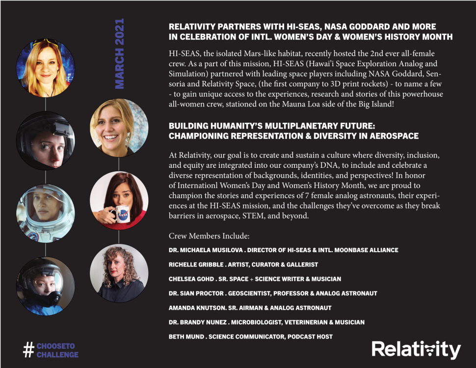 Relativity Space teams with HI-SEAS, NASA to celebrate International Women's Day