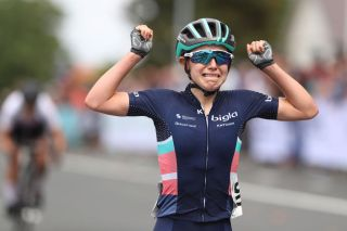 Put your hands in the air: Bigla-Katusha's Niamh Fisher-Black wins the 2020 elite women's road-race title at the New Zealand Road Championships in Cambridge