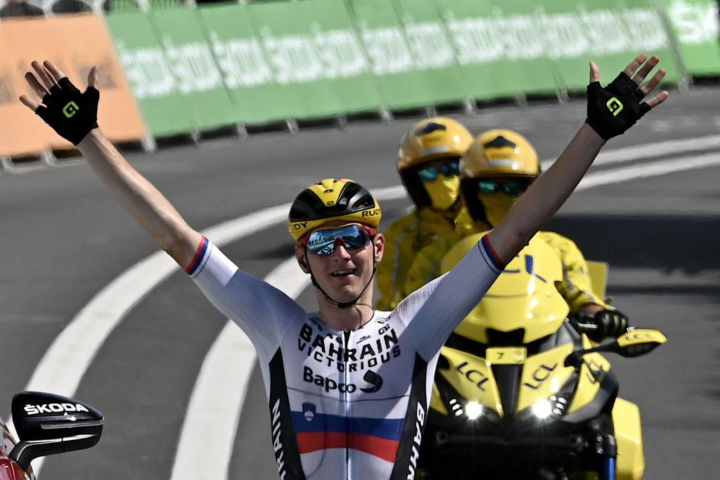 Team Bahrains Matej Mohoric of Slovenia celebrates as he crosses the finish line of during the 19th stage of the 108th edition of the Tour de France cycling race 207 km between Mourenx and Libourne on July 16 2021 Photo by Philippe LOPEZ AFP Photo by PHILIPPE LOPEZAFP via Getty Images