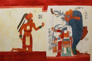 Maya mural obsidian and king