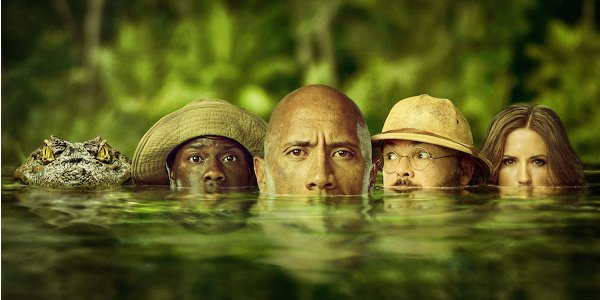 Jumanji: Welcome To The Jungle cast meets alligator in the water