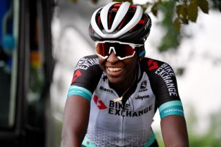 GALMAARDEN BELGIUM JUNE 24 Teniel Campbell of Trinidad Tobago and Team Bikeexchange warming up on rollers at start during the 9th Lotto Belgium Tour 2021 Stage 2 a 1375km stage from Galmaarden to Galmaarden LottoBelgTour LottoBelgiumTour on June 24 2021 in Galmaarden Belgium Photo by Luc ClaessenGetty Images