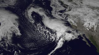 NOAA's GOES-West satellite captured this image of storms barreling towards California on February 27, 2014.