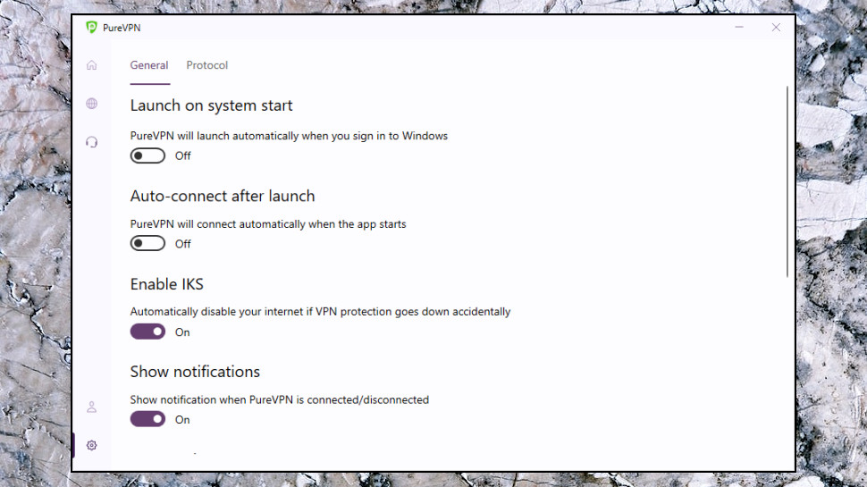 PureVPN Windows Settings