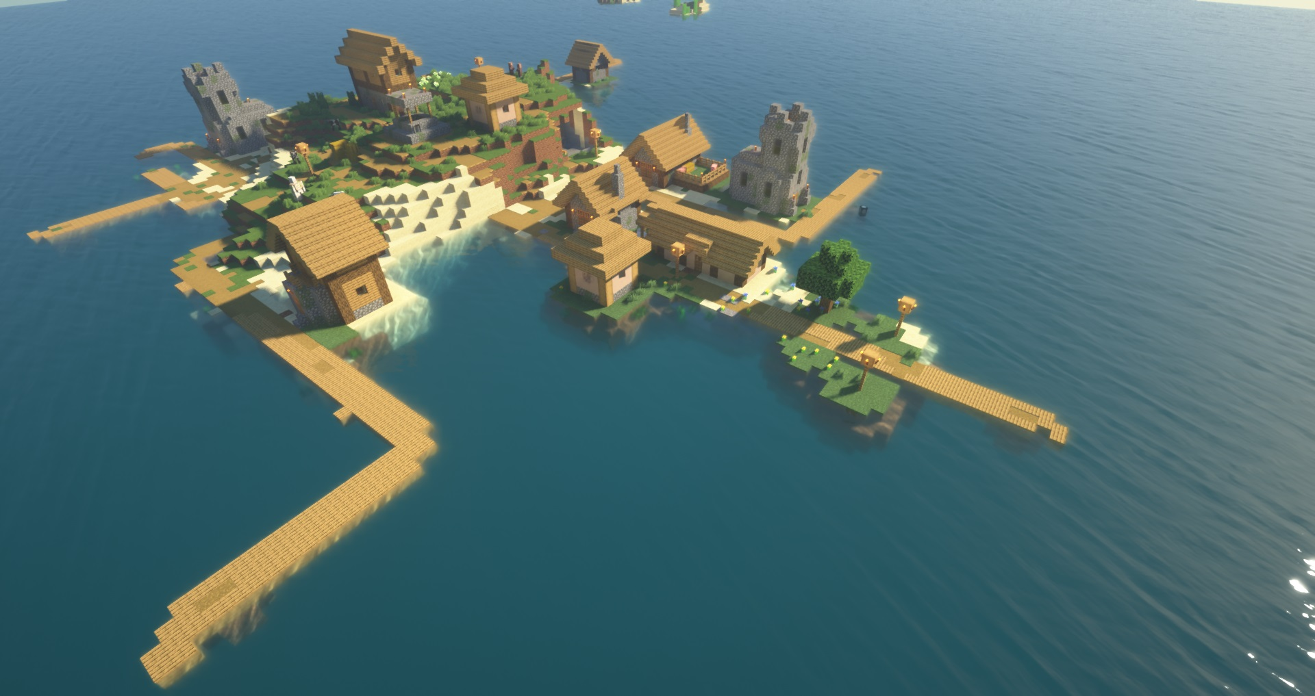 Minecraft village seed: A view from above of an island village with several wooden docks, houses, and watchtowers