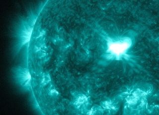 This close-up of the sun shows the source of a major X1.6 solar flare that erupted on Sept. 10, 2014 at 1:48 p.m. ET as seen by NASA's Solar Dynamics Observatory.