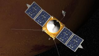 Artist's impression of NASA's MAVEN mission