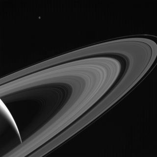 Tethys Above Saturn's Rings