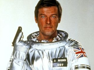 "Roger Moore dons a spacesuit for James Bond's space mission in 1979's ""Moonraker."""