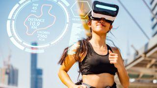 Runner wearing a VR headset