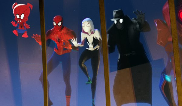 Spider-Man: Into The Spider-Verse Spider People looking in on a charity dinner through a skylight