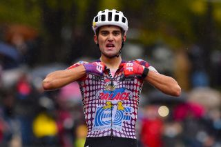 EF Pro Cycling's Ruben Guerreiro celebrates his victory on stage 9 of the 2020 Giro d'Italia