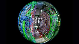 Taken with a fish-eye lens, this image shows the Compact Muon Solenoid (CMS) detector assembly in a tunnel of the Large Hadron Collider (LHC).