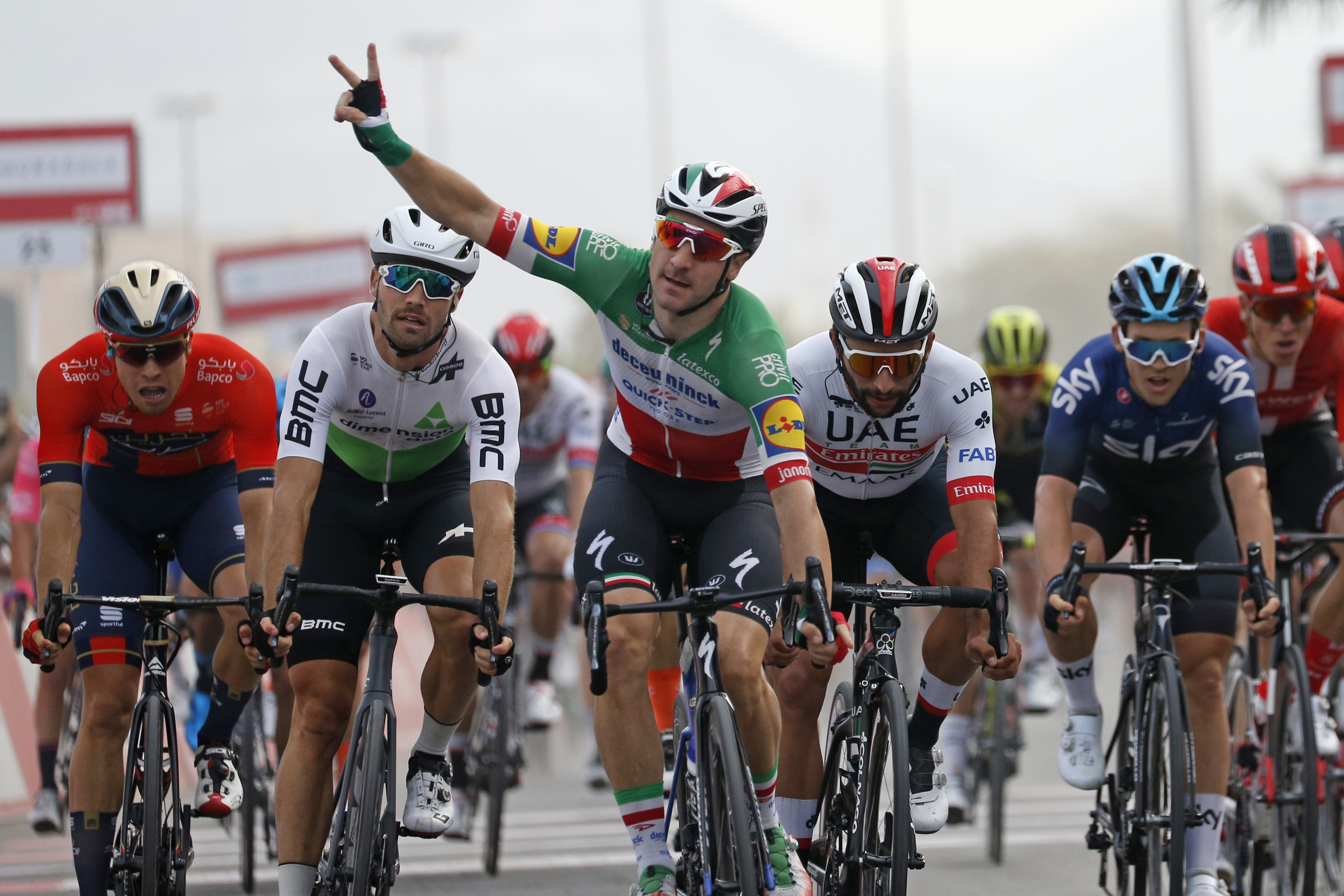 Elia Viviani wins UAE Tour 2019 stage five in close finish - Cycling Weekly
