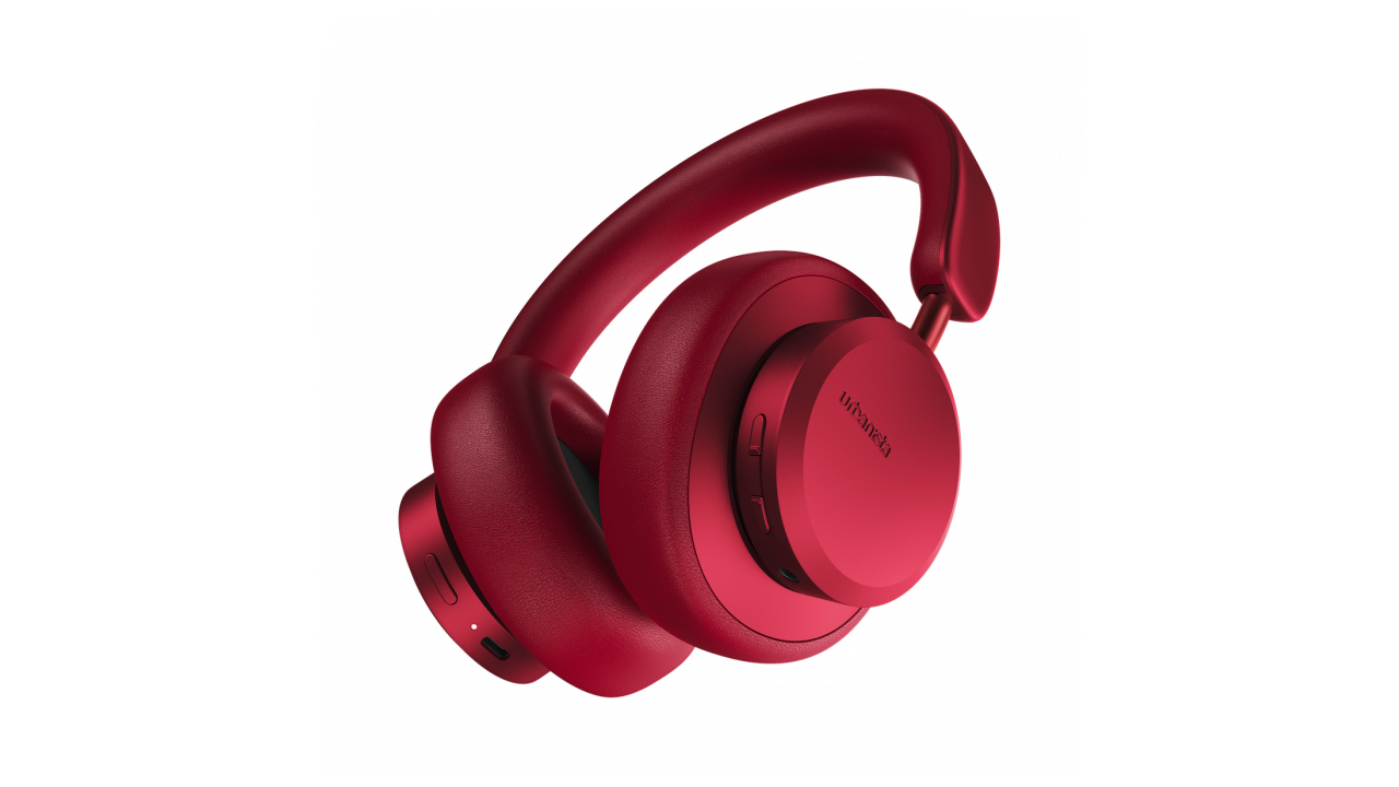 the urbanista miami noise cancelling headphones in bright red